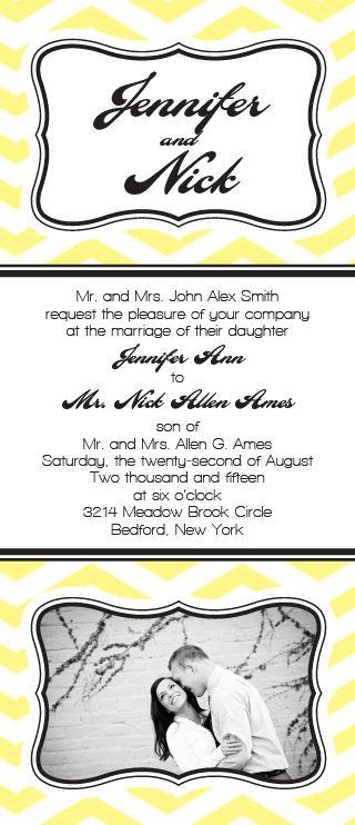 Chevron Pattern Tea Length Photo Wedding Invitation Wedding Archive Pint
