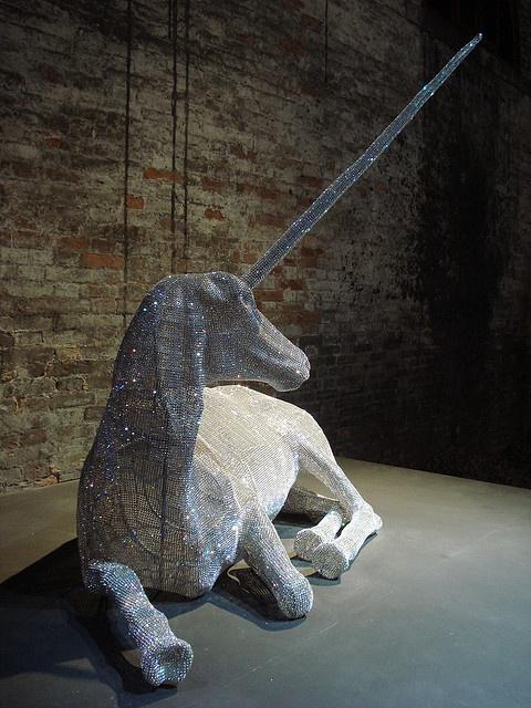 Unicorn in 'Orpheus's Dream' by Nicola Bolla Crystals set on iron mesh