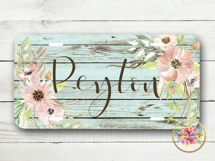 Watercolor Pink Flowers - Rustic Wood - Personalized - License Plate - Monogrammed - Car Tag - Pink Floral License Plate - Weathered Wood by AquaMagnolia on Etsy