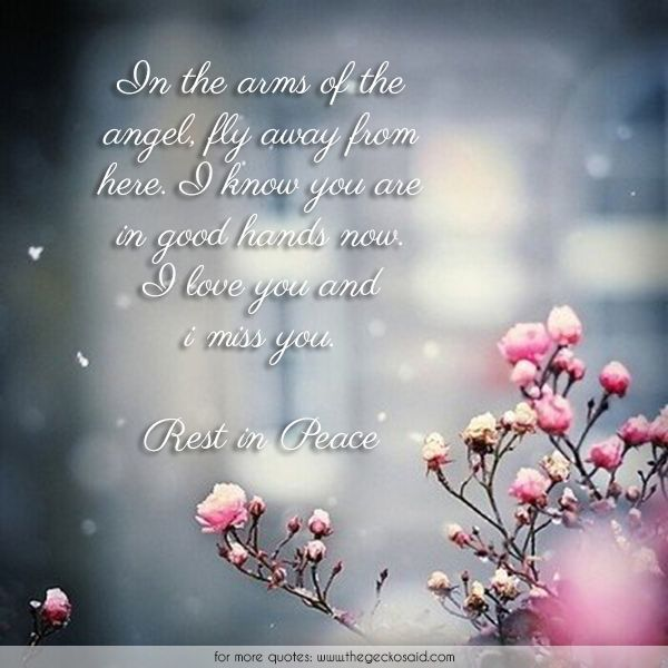 In the arms of the angel, fly away from here. I know you are in good hands now. I love you and i miss you.  #angel #arms #away #fly #good #hands #love #miss #peace #quotes #rest #rip
