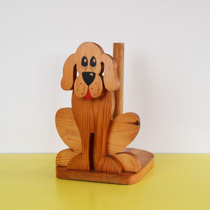 Vintage Dog Kitchen Roll Holder, Retro Wooden Loo Roll Holder, Kitsch Puppy Dog Toilet Roll Holder, Vintage Wooden Toilet Roll Stand by LittleYellowTable on Etsy