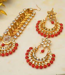 Buy Passa Earrings Set Red maang-tikka online