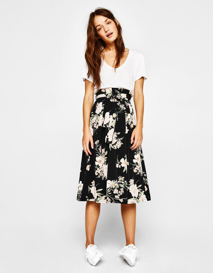 Midi skirt. Discover this and many more items in Bershka with new products every week