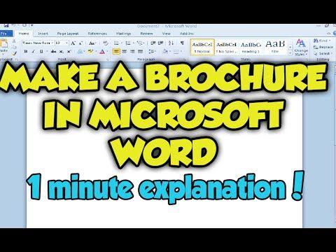make a brochure in word