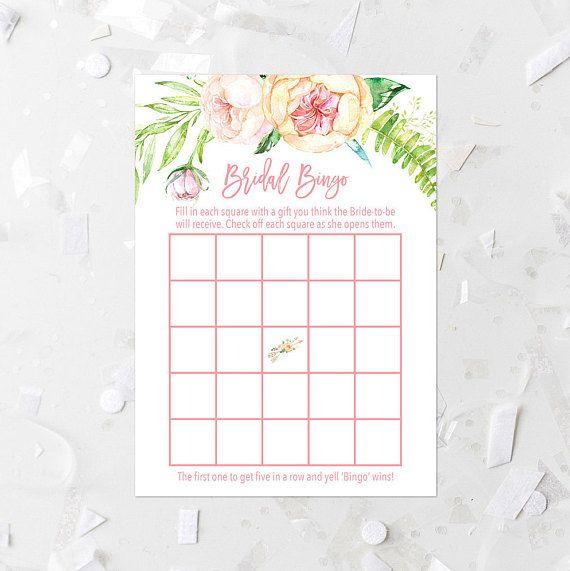 Spring Floral Bingo Game Printable Pink Floral Bridal Shower