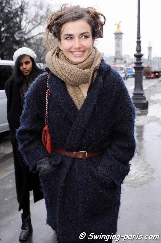 Andreea Diaconu after Chanel show, Paris Couture Fashion Week