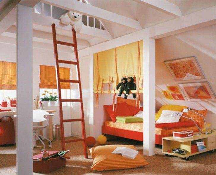 Attic White Youth Room Decorating For Boys With Functional Bedside Table  Furniture That Have Storage Space