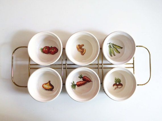 Vintage Villeroy & Boch appetizer serving set, 6 small bowls and wire caddy, 1950s midcentury decor