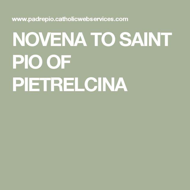 NOVENA TO SAINT PIO OF PIETRELCINA