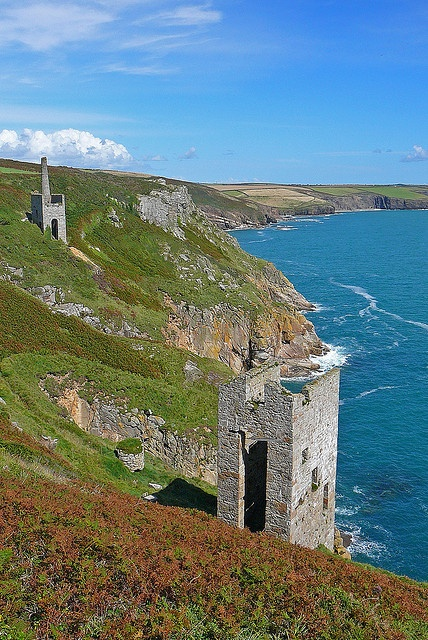 Abandoned engine houses of the tin mines at Wheal Trewavas near Porthleven, south west Cornwall.