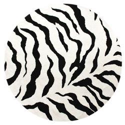 Alexa Zebra Animal Print Black/ Ivory Rug (6' Round)