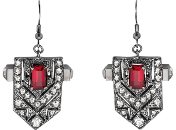 Our Beautiful Deco Crest Hematite-Plated Earrings from our #AW14 #FangFatale Collection  #MAWI #MAWIROCKS #THROWBACK
