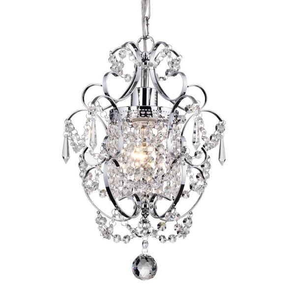 Edvivi Amorette 1 Light Chrome Mini Chandelier With Crystals Epc501ch The Home Depot Mini Chandelier Crystal Chandelier Lighting Wrought Iron Ceiling Lights