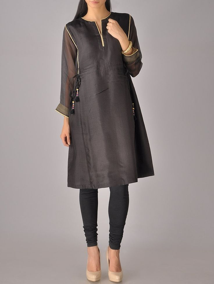 Buy Black Golden Kota Silk Tassel Tunic Apparel Tunics & Kurtas Online at Jaypore.com