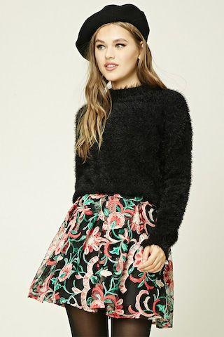 Pleated Embroidered Mini Skirt