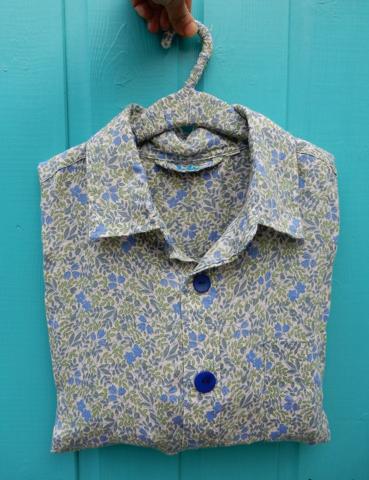 Free tutorial on our blog: Upcycle a preloved shirt into a peg bag. Simple beginner sewer project.