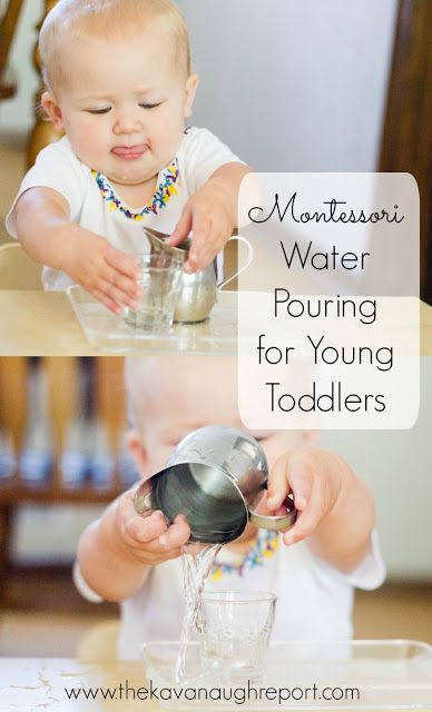 Montessori Toddler -- Introducing Water Pouring. Practical life idea for toddlers in the kitchen.