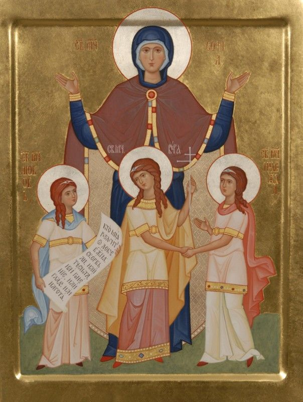 Icon of SS Faith, Hope, Love, and their mother Sophia. TO ORDER. Catalog of St. Elisabeth Convent. Materials: natural wooden board (lime, pine, alder) with oak splines; cloth from low-count fabric (linen, canvas), gesso, tempera paints (ground minerals, precious and semiprecious stones mixed with egg yolk), gold leaf of various hues, tinted wax, linseed oil, hide glue, varnishes (mordant, kauri gum, acryl-styrolic).#CatalogOfGoodDeeds #icons #paintedicons #art #inspiration #beauty #handmade…