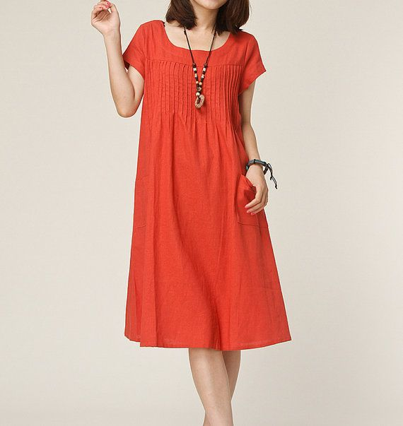 Orange linen dress maxi dress short sleeve by originalstyleshop, $59.00