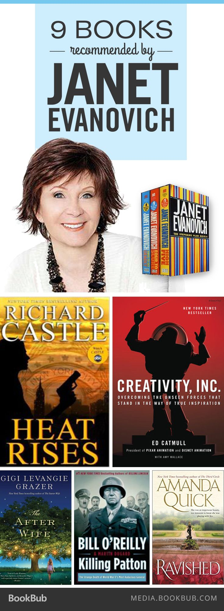 9 books recommended by Janet Evanovich, including Richard Castle's Heat Rises.