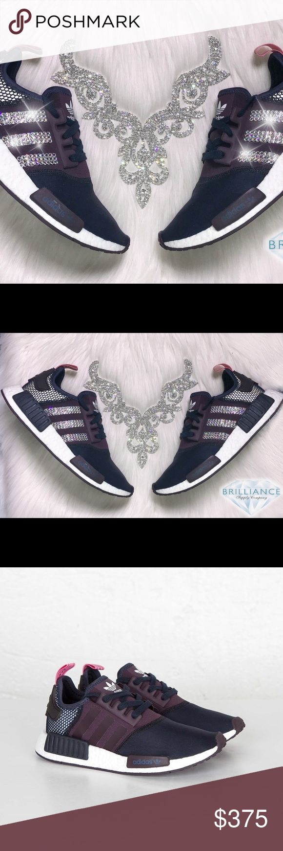 Adidas NMD R1 Women's Runner Blinged w/ Swarovski® Authentic Adidas NMD_R1 Women's Runners Nomad Legend In Navy/Purple. Style# S75232.  Outer Stripes Are Customized With HUNDREDS Of The Most Expensive SWAROVSKI® Crystals In The World. Our Crystals Feature X-Cut Technology For Diamond-Like Brilliance And Shine.  Brand new in original box, purchased directly from an authorized Adidas retailer.  Crystals have been applied with industrial strength glue. Will never come off.  For better pricing…