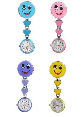 Schwesternuhr Typ Smile mit Clip und Kette mit Sekundenzeiger geeignet als Pulsuhr Top Verarbeitungsqualität