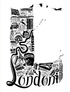 Best of London // London Letters series.  A beautiful and detailed print filled with illustrations of important places and landmarks in London.