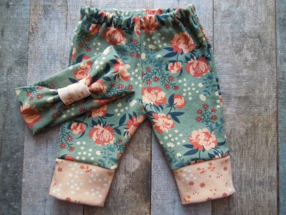 Organic Baby Girl Clothes, Baby gift set, Headband pant set, Headband, Baby Leggings, Newborn Outfit, Baby Girl Clothes, Going Home Outfit