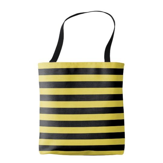 Thic wasp stripes pattern, black & orange lines tote bag