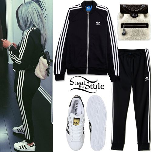Kylie Jenner posted a picture a couple of days ago wearing a Superstar Track Jacket ($70.00), the Superstar Cuffed Track Pants ($65.00) and a pair of Superstar Foundation Shoes ($80.00) all by Adidas, with a Chanel Calfskin and Shearling Backpack (Not available online).
