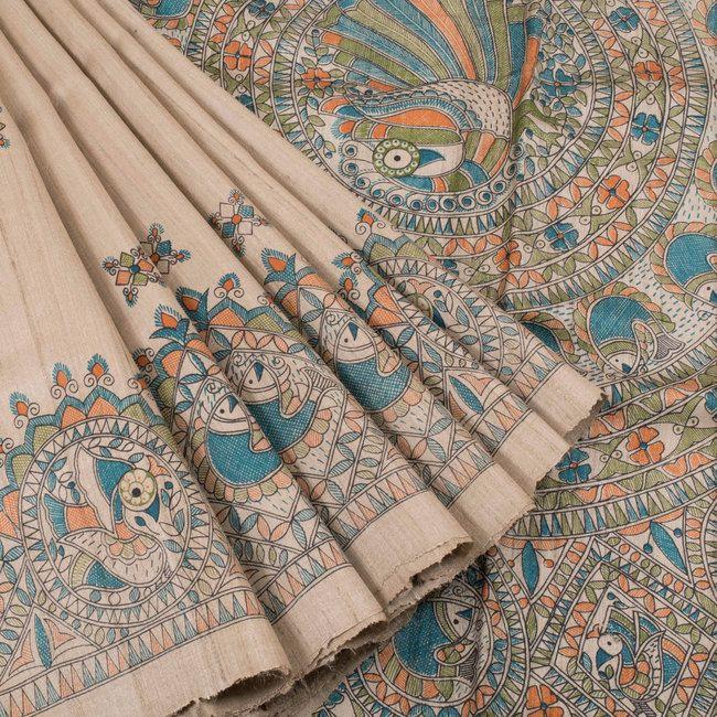 Ghanshyam Sarode Madhubani Printed Tussar Silk Saree 10005503 - creativeview - AVISHYA.COM