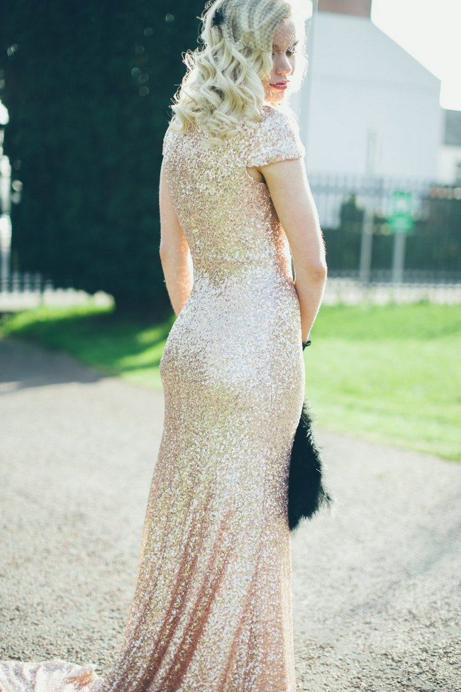 Gold Sequin Glitter Wedding Dress