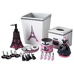 Girl's bathroom is fashion, beauty style now with zebra, hot pink and black ready to update but stick with the girly pinks and black but go more paris, sticking with the fashion, beauty theme