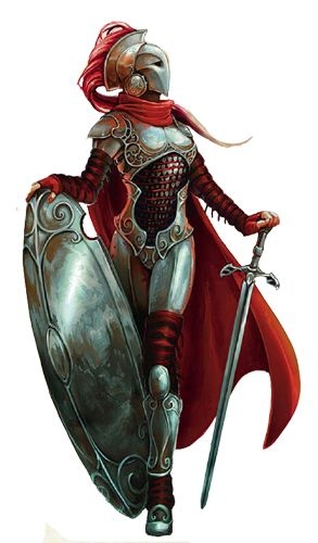 Female fighter knight paladin soldier shield sword platemail chainmail armor clothes clothing fashion player character npc | Create your own roleplaying game material w/ RPG Bard: www.rpgbard.com | Writing inspiration for Dungeons and Dragons DND D&D Pathfinder PFRPG Warhammer 40k Star Wars Shadowrun Call of Cthulhu Lord of the Rings LoTR + d20 fantasy science fiction scifi horror design | Not Trusty Sword art: click artwork for source