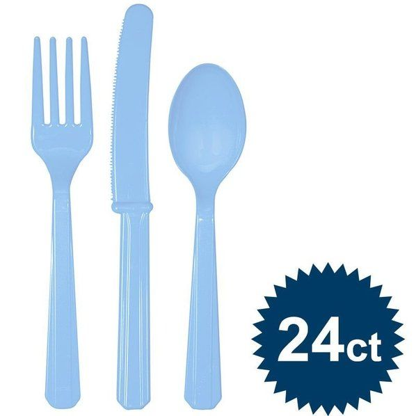 Check out Light Blue Cutlery Set - Reduced Solid Tableware $1.79 Accessories from Wholesale Party Supplies