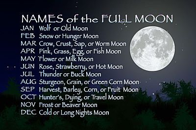 Names of the Full Moon for each month of the year... http://thesmallfrycollection.files.wordpress.com/2013/08/full-moons.jpg