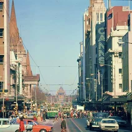 Swanston Street, Melbourne, Victoria, Australia, 1974, photographer unknown.