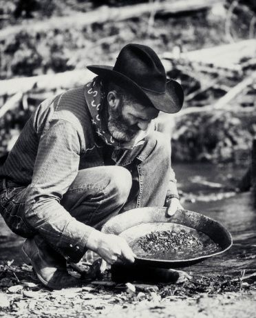 Stock Photo : Prospector pans for gold.