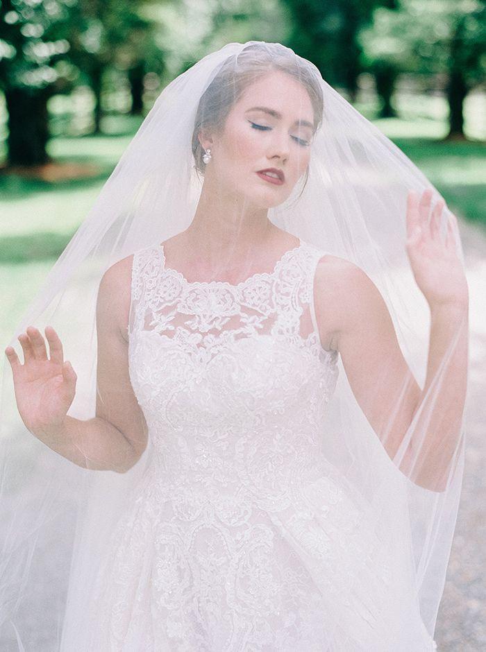 Romantic Bridal Photo Under a Veil    #AisleSociety #ad #ASforDB #DBMaids #DavidsBridal #OlegCassini #wedding #weddingday #weddingdress