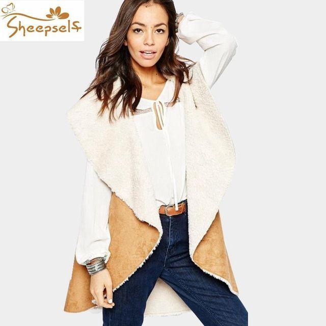 Autumn Winter 2016 Women Sleeveless Faux Fur Collar Long Leather Waistcoat Solid Causal Outwear Coattail Femme Vest Jackets WV51