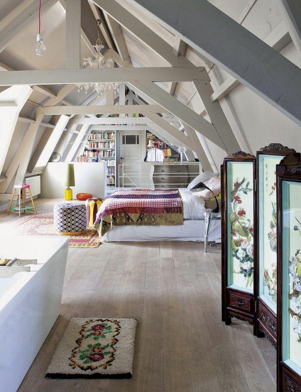 Dormitorio abierto en estilo nórdico vintage