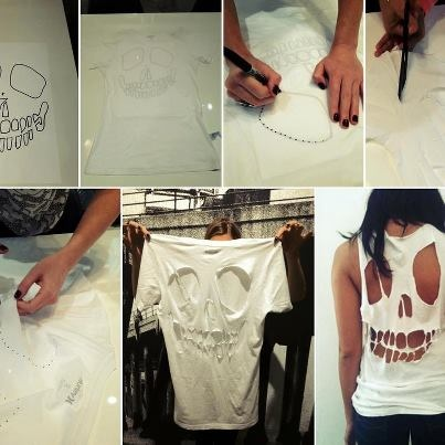 .customização: Halloweenidea, Skull Shirts, T Shirts Cut, Cut Shirts, Diy T Shirts, Diy Shirts, Cut Outs, Halloween Ideas, Old T Shirts