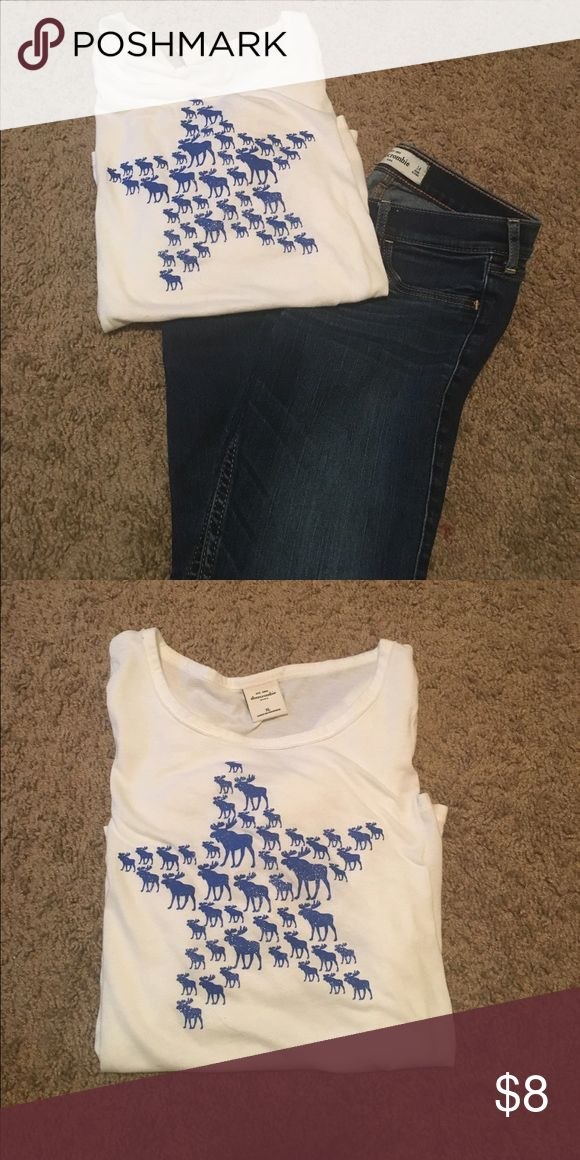 Abercrombie girls top XL White Abercrombie girls shirt XL, no stains or rips, slightly used abercrombie kids Shirts & Tops Blouses