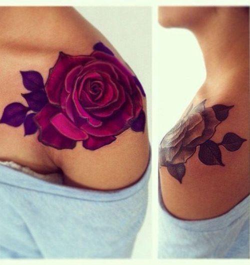 Lovely Red Rose Shoulder Tattoos For Women