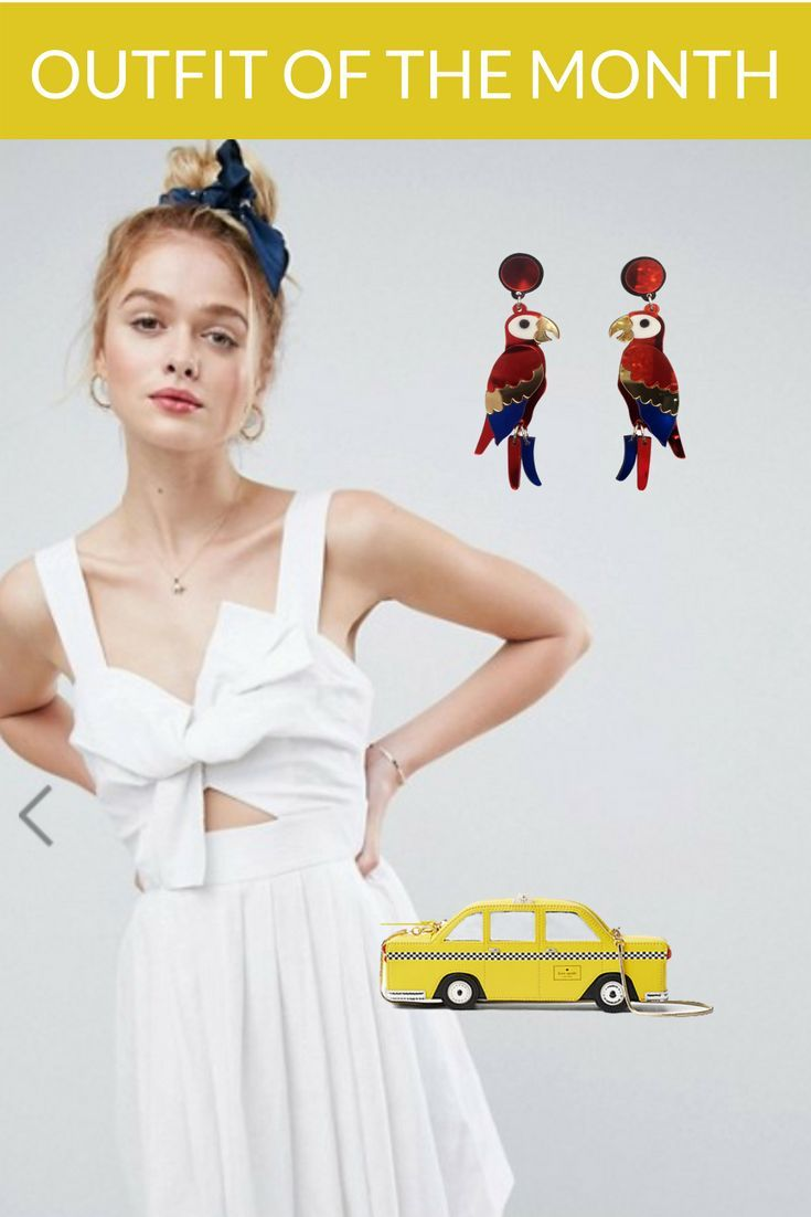 Our outfit of the month. Team this white dress from ASOS with a Kate Spade clutch, and finish off the look with a pair of Spotting Unicorn's Squark earrings. #outfitideas #earringsoftheday