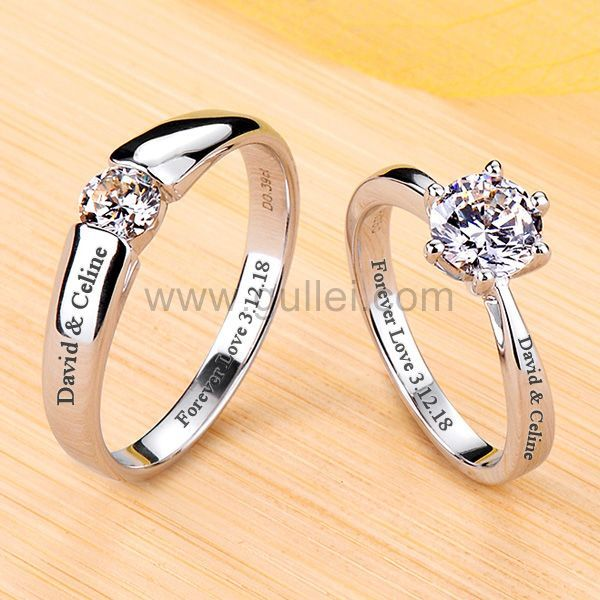 1 Carat Diamond Engraved Engagement Rings Set For Couples In 2020