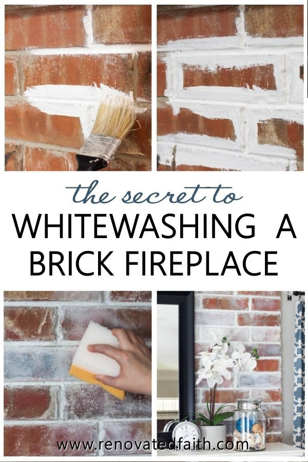 How To Whitewash A Brick Fireplace Faux German Smear With Paint In 2020 Brick Fireplace White Wash Brick Fireplace Painted Brick Walls