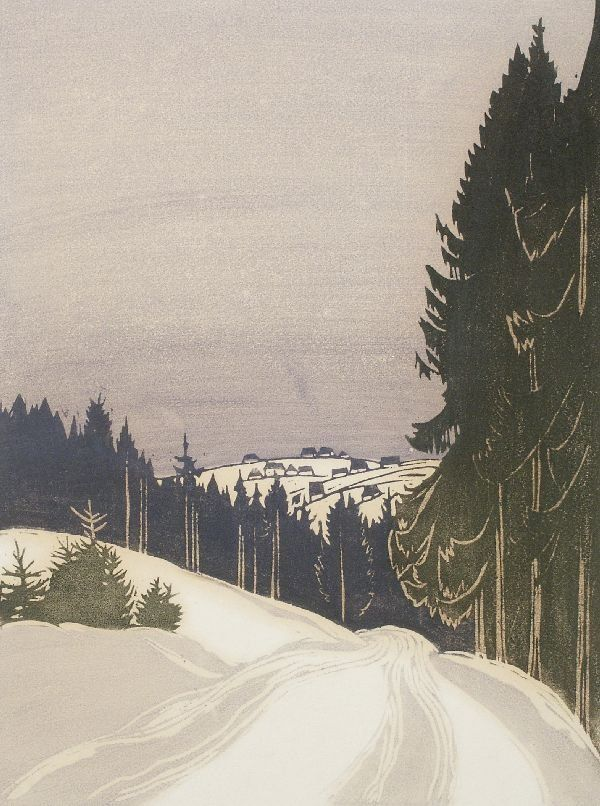 Erich Buchwald Zinnwald, woodcut