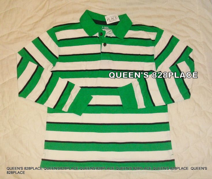 Nwt The Children's Place TCP  boys size 10-12 Green Striped Polo Tee shirt top  #TheChildrensPlace #DressyEverydayHoliday