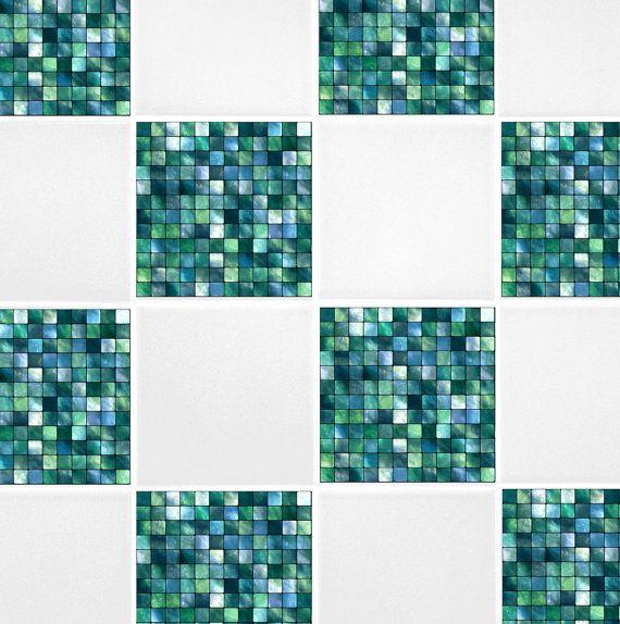 """Green Blue Mosaic Tile Transfers 6"""" x 6"""" Printed Waterproof Vinyl Tile Stickers Pack of 10"""